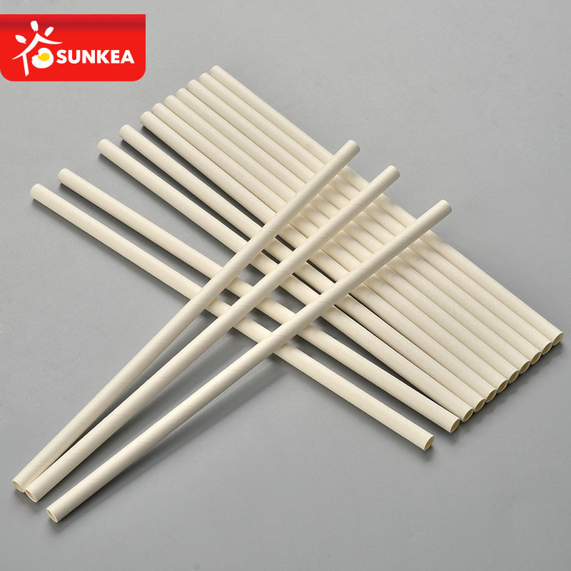 White biodegradable drinking paper straw