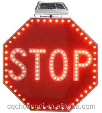 Solar Traffic Road STOP Signs With LED Lighting