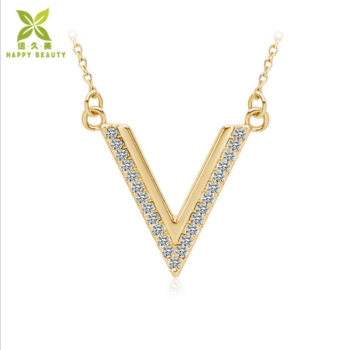16.5inch V letter alphabet shape pave setting zirconia stone pendant necklace jewelry