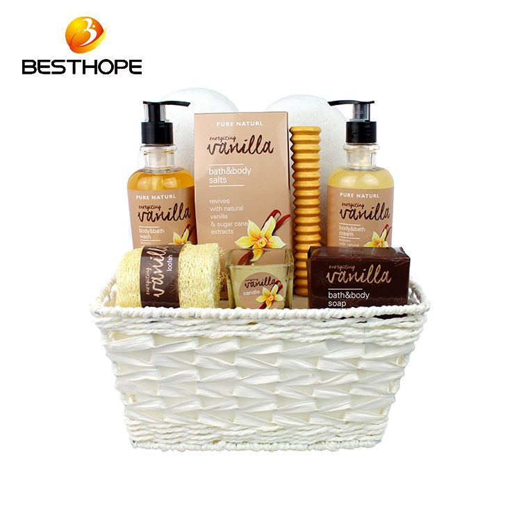 Wholesale vanilla Aroma Body Lotion Wooden Box Bath Set