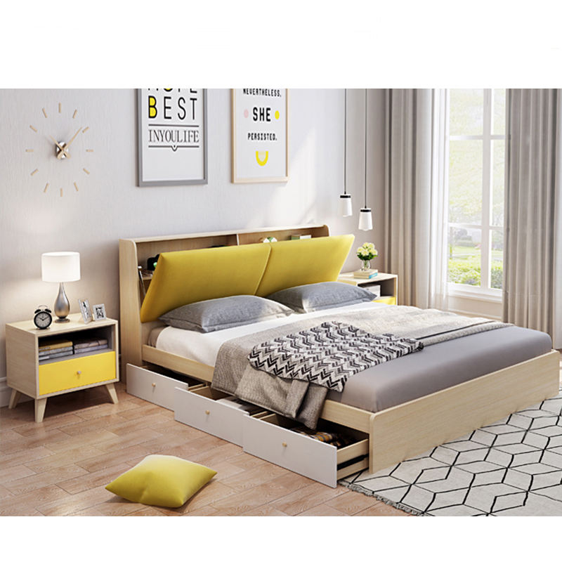 Factory Direct Nordic Style Full Size Bed Smart Furniture Bed Queen Size