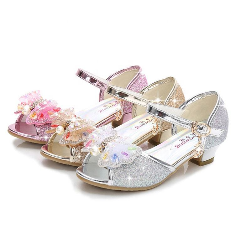 Sequin Girls Princess Party Shoes Dress shoes for Pageant Wedding shoes kids sandal