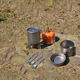 Travel hiking cookware outdoor camping set of titanium cooking pots