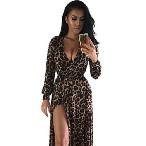 Hot sexy printed maxi fashion clothes sleeveless 100% cotton leopard print long women party dress