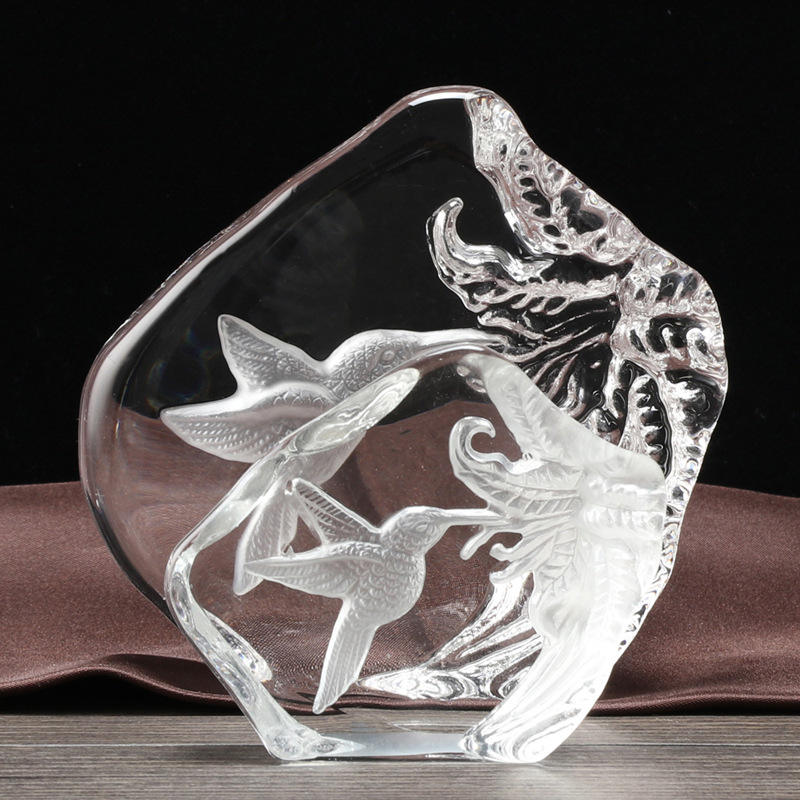 Wholesale Customized Image 3D laser engraved Birds Crystal Iceberg for Business Gift