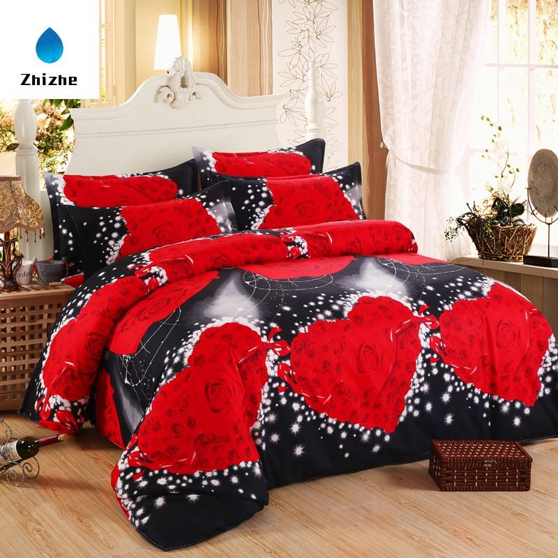 3D Series big red rose printed duvet cover set ready to ship