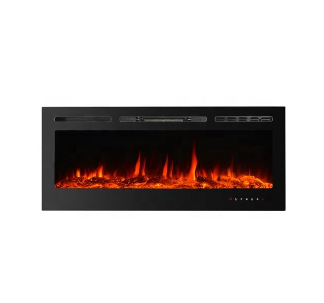 "40""&50""60""&70""Full recessed/Wall mounted electric fireplace 9-colour log/crystal/pebble,touch panel"