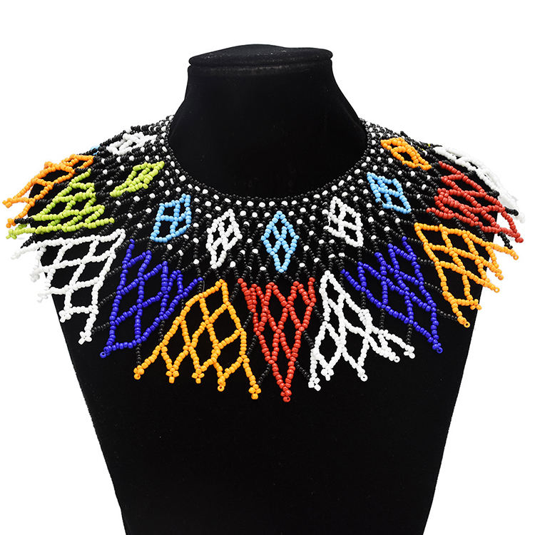 10 Colors African Tribal New Fashion Collar Necklace Colorful Acrylic Beaded Indian Ethnic Bib Choker Statement Necklace
