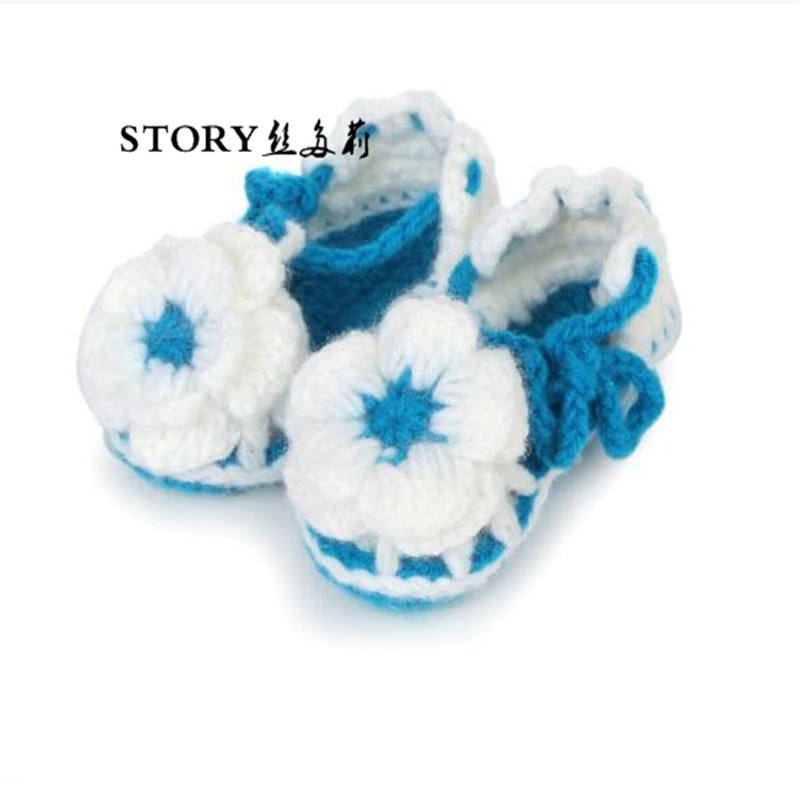 new European Autumn fall Newborn baby infant toddlers girl boy handmade kids knitted baby flower wool crib booties crochet shoes