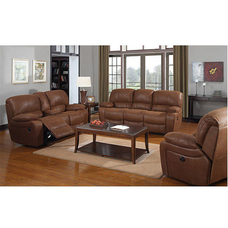 Newest home brown leather electric recliner sofa set recliners sectional