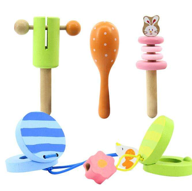 ML-0093a new instruments toys infants wooden hand bell early childhood music toy