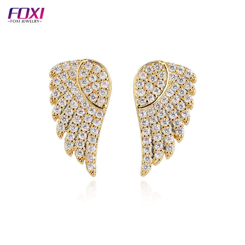 14k gold gram price CZ Earrings Angel Wing Charms Wholesale Butterfly Wing Earrings