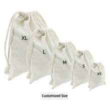 White Small Pouch Custom Gift Calico Wholesale Cotton Fabric Drawstring Bag