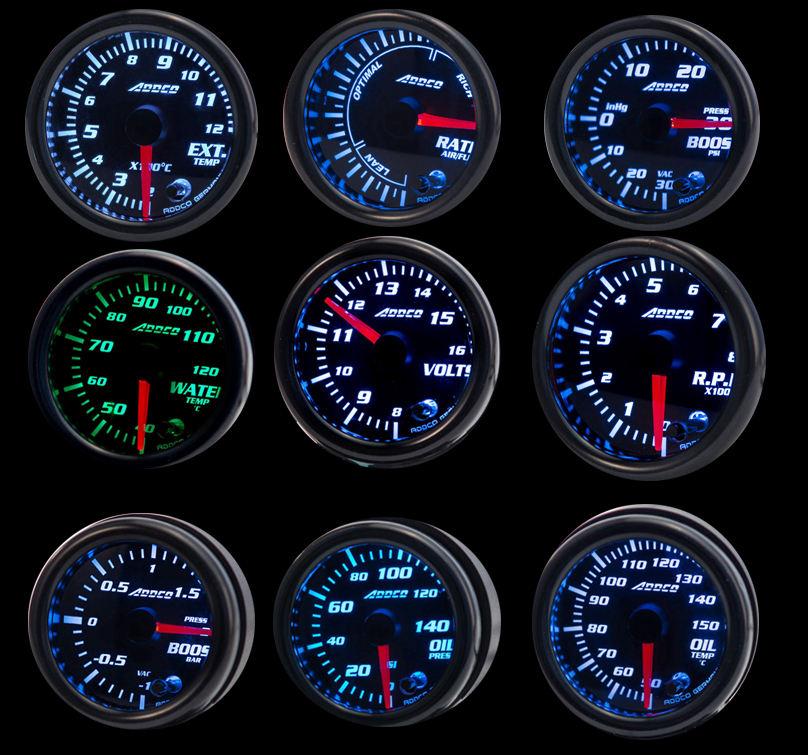 "ADDCO 2"" /52mm 7 Color LED Smoke Face Car Meter Boost Gauge Water temperature Oil pressure Volt Tachometer Meter"