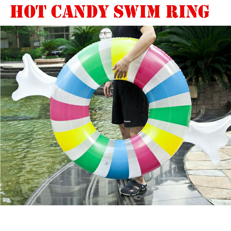 factory hot selling Summer water and beach toy top quality 2019 new design candy lovely inflatable swimming ring for adults
