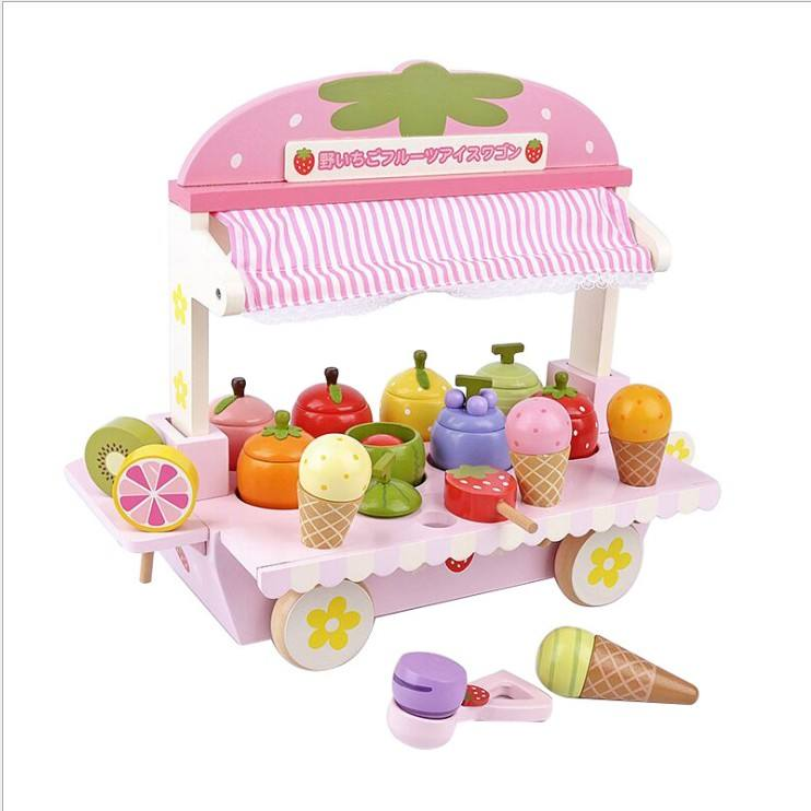 New Arrival Hot Sale Kids Educatrional Toys Wooden Ice Cream Kitchen Set Toys Kids Role Play Set