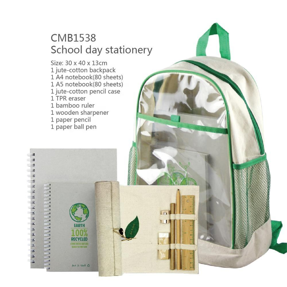 Eco friendly kids school bag stationery set and Sketch Book