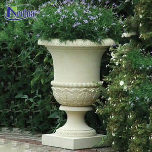 Top selling manufacturer simple design natural granite yellow stone classic planter marble flower pot