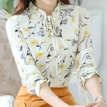 2019 Spring Summer Blusas Women Tops Blouses Ladies Chiffon Long Sleeve Floral Shirt Slim Mujer Plus Size Blouse