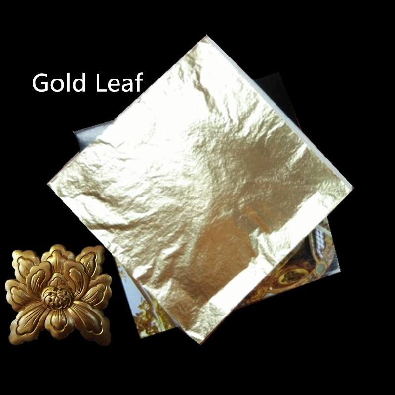 Chinese gold leaf HOT SELLING gold leaf sheets 16*16cm color 2.0 and 2.5 imitation gold leaf for furniture decoration