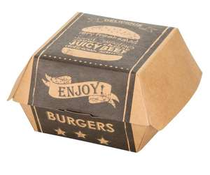 custom printed mini burger box  Brown kraft paper eco-friendly clamshell package box