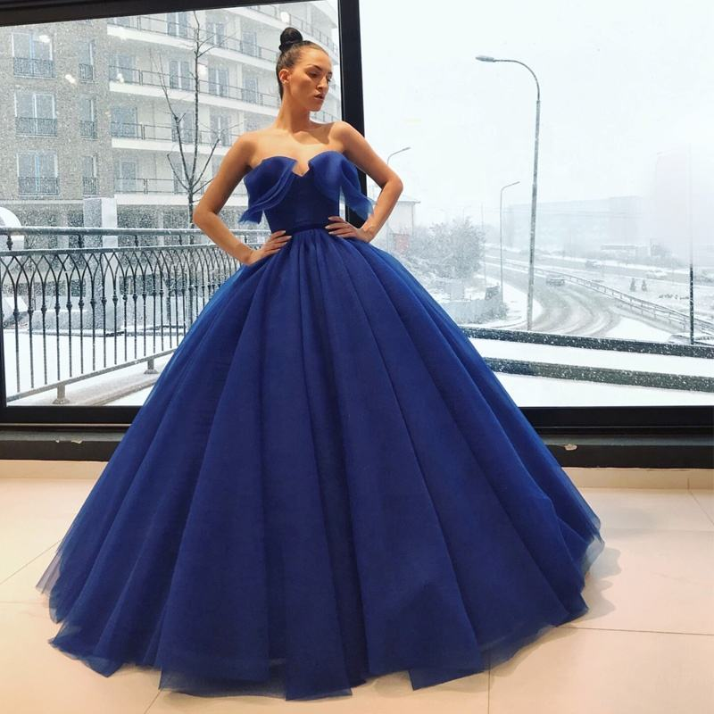 Womens Royal Blue Long Evening Dress with Ruffled Neckline Strapless Ball Gown Special Occasion Prom Dresses 2019 robe soiree