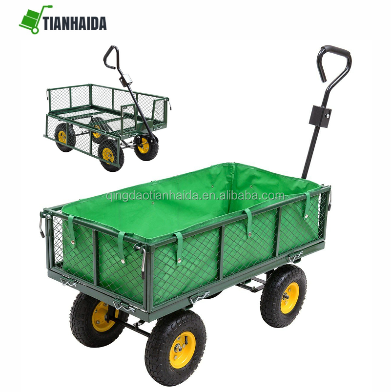Outdoor Yard Garden Utility Carts and Wagons Garden Trolley Cart US New
