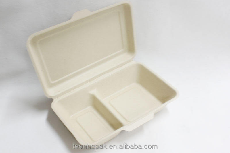 Food [ Pulp Fiber ] Pulp Biodegradable Pulp 1000ML 2 Compartment Box Wheat Straw Fiber Tableware