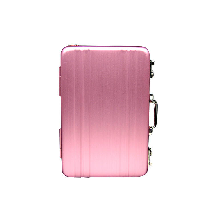 Pink colour rfid blocking briefcase metal alloy aluminum cover business card credit bank card case