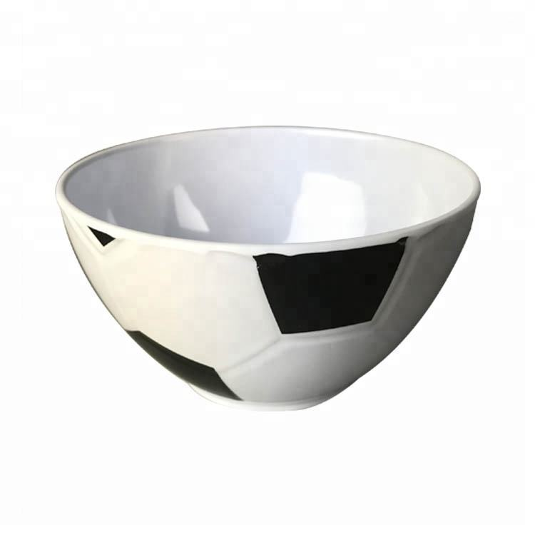 Best selling white & sliver football soccer melamine bowl for buffet & salad
