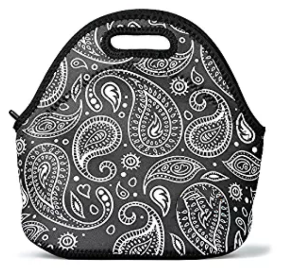 Eco-friendly Insulated Reusable Neoprene Lunch Bag for Women Adults Children Office Worker, Paisley