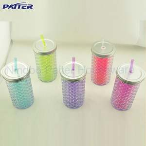 BPA Free Custom design Plastic Mason Jars With Lid And Straw