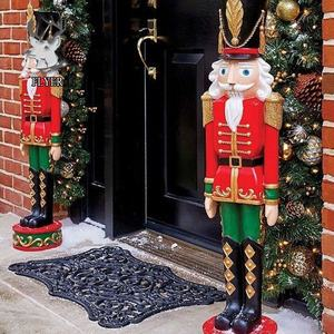 The door home mall christmas decoration life size resin a pair of nutcracker soldier figure statue