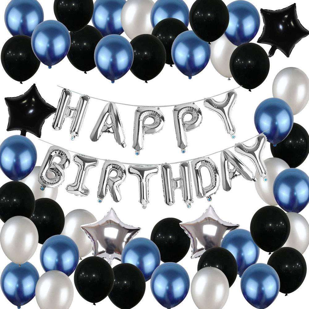 Birthday Party Decorations Set Birthday Party Supplies Happy Birthday Balloons Banner Blue Silver Black Party Decoration for boy