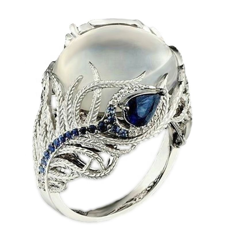 Vintage Lady Creative Flower Moonstone Ring Blue Zircon Peacock Feather Shape Jewelry B2226