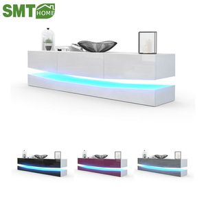 Modern wood LED light high glass wall mounted tv stand furniture