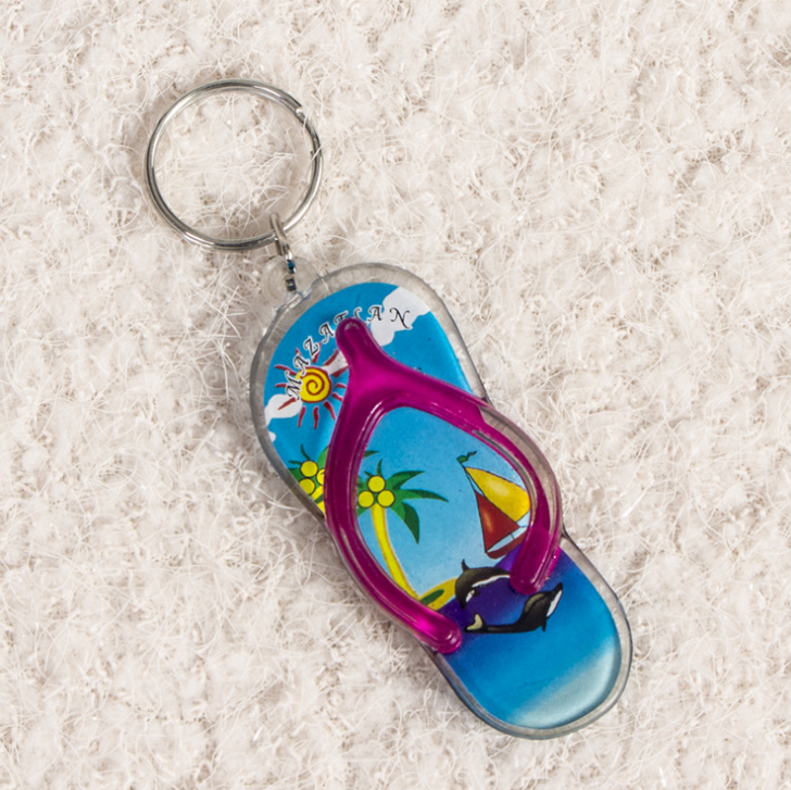 Personalized Custom Flip Flops Shaped Acrylic Name Monogram Keychain