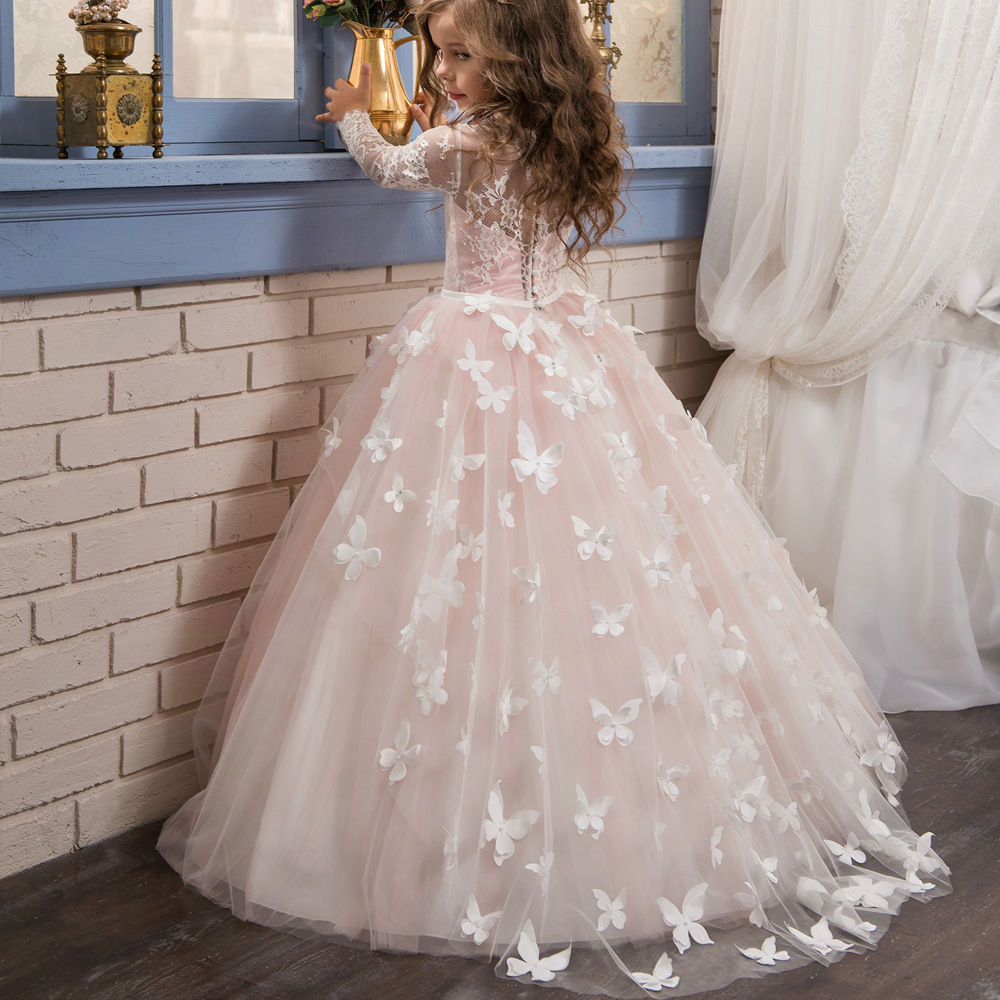 Boutique Wholesale Girls Ball Gown Children Pink Dress Wedding Party Baby Sleeveless Lace Tulle Bridesmaid Dresses