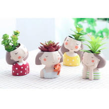Roogo home cute little girl wholesale mini nursery Plant Pots for plants