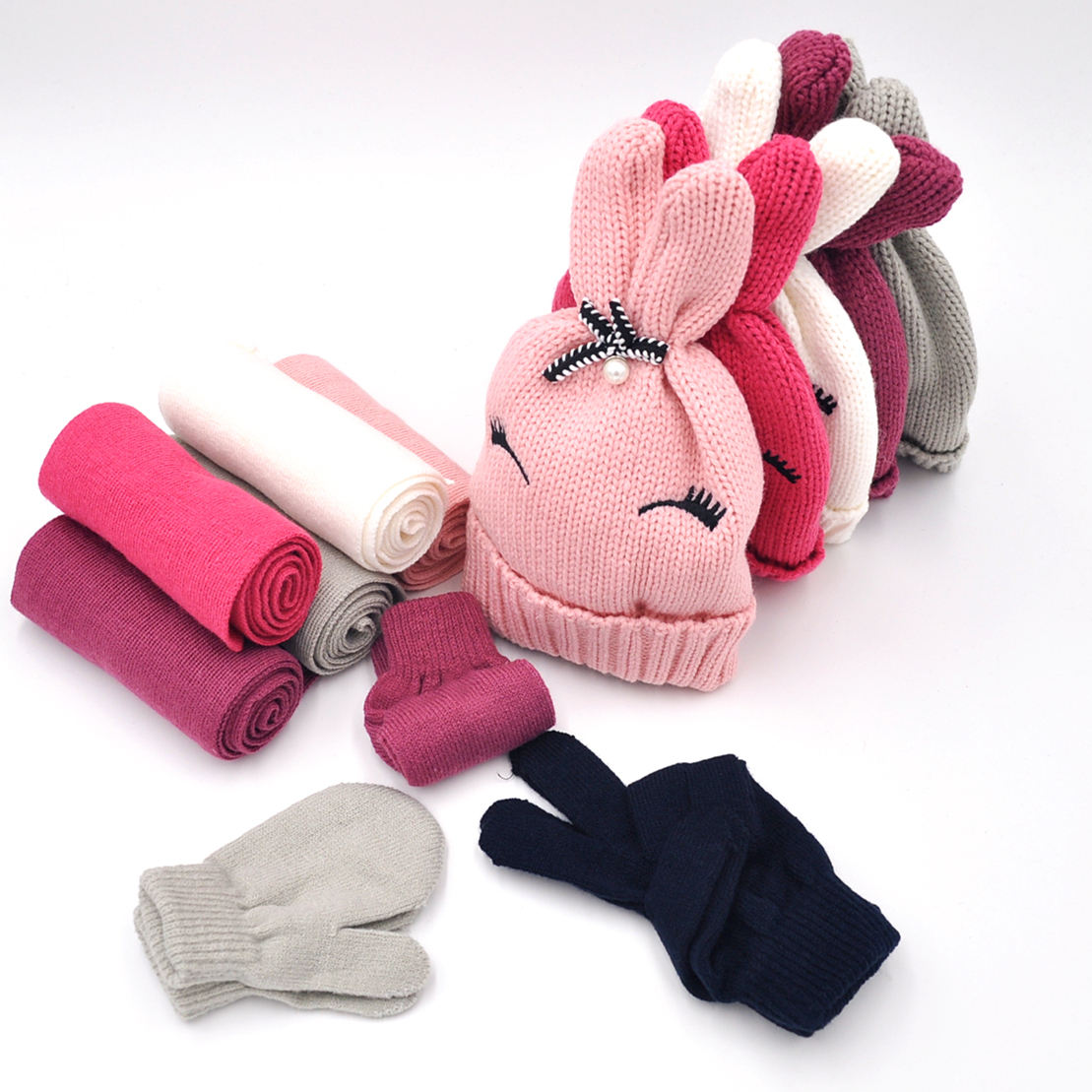 Factory Supply FASHION High Quality girls kids Knitted Hat scarf gloves set winter beanie mittens gloves cap set