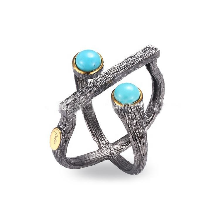 Fancy Design Turquoise 925 Sterling Silver Ring with Gold Plated