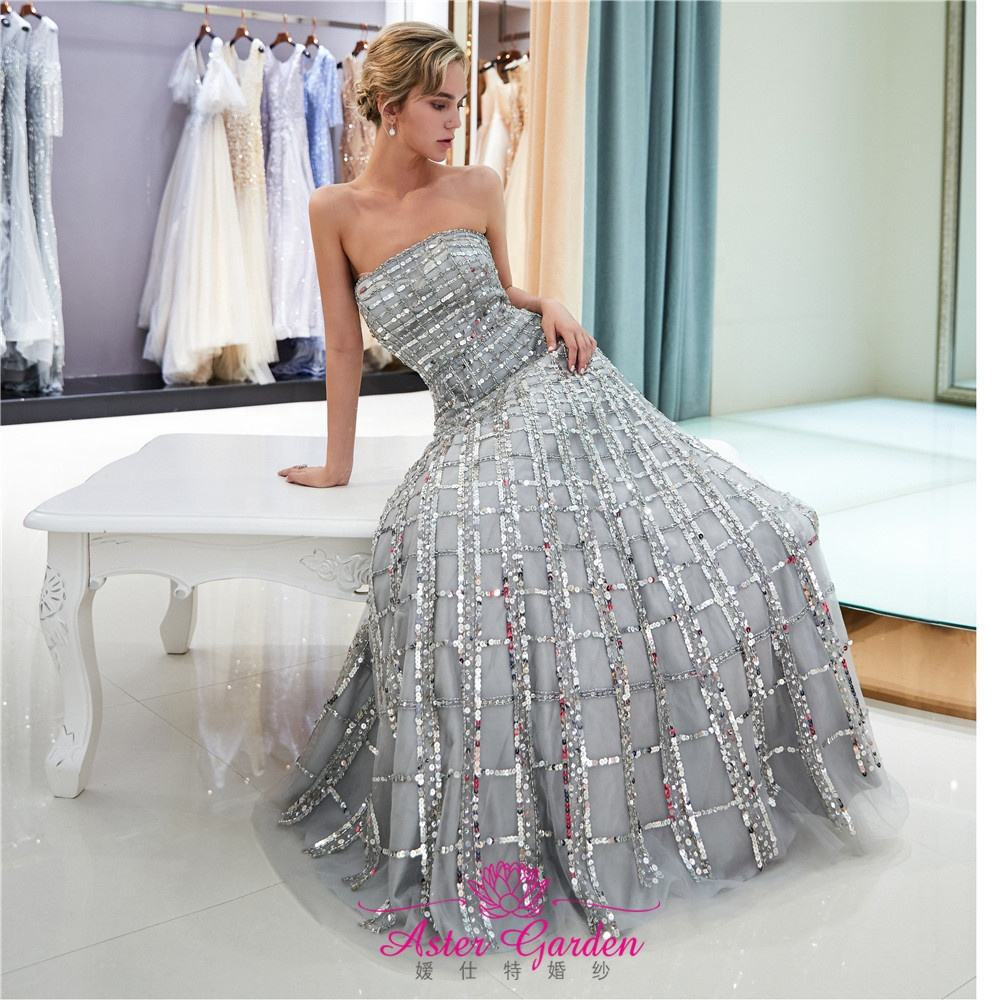New Prom Dress 2019 A-Line crystal Evening Dress Long Luxury Beaded Evening Gown Party long prom dress Vestido de Fiesta PE07