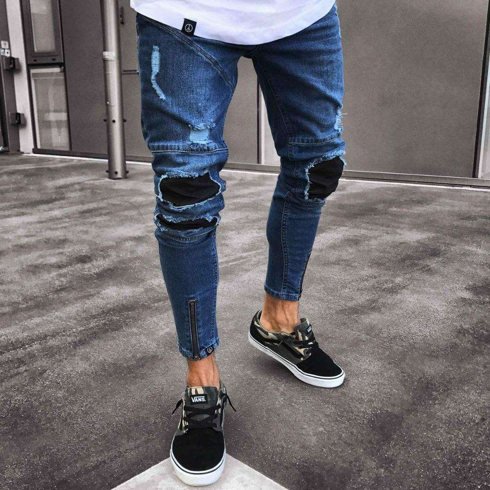Mens Cool Designer Jeans Skinny Ripped Destroyed Stretch Slim Fit Hop Hop Pants With Holes For Men Y10753