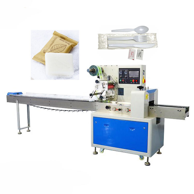 Hotel soap wrapping machine cutlery wrap flow packing machine