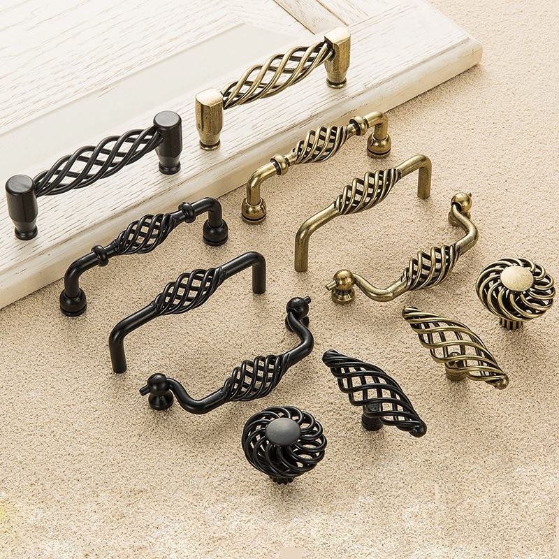 New matte black handle antique bronze single hole cabinet drawer furniture bird cage handle