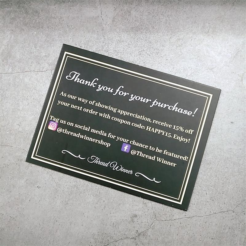2019 Custom printing Thank You Cards 100 for shopping paper card