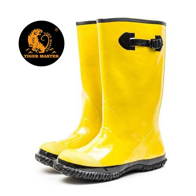 Hot sales chemical resistant anti slip water proof non safety men glitter yellow slush overshoes rubber rain boots