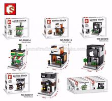 Sembo block 7-11 Store DIY Building Blocks Micro street Shop 3D Auction Model Educational Kids kids toys hobbies
