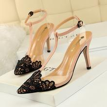 2019 fashion factory wholesale price customized small MOQ  Cotton Fabric Upper 8.5cm ladies high heels transparent high heels