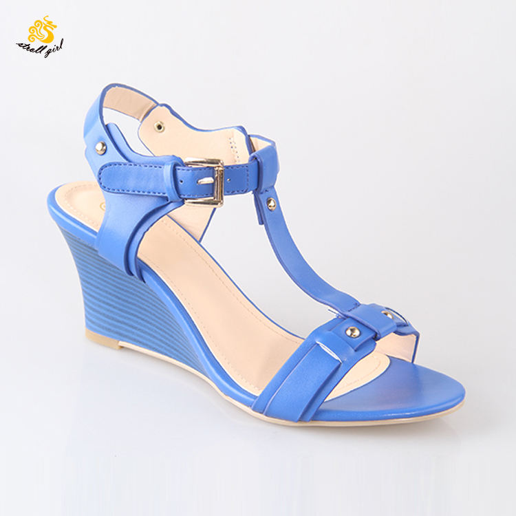 China Factory OEM Female Zapatos Mujer Red T-Strap Wedge Heel For Women Lady Shoes Sandals Import Wooden Wedge Sandals